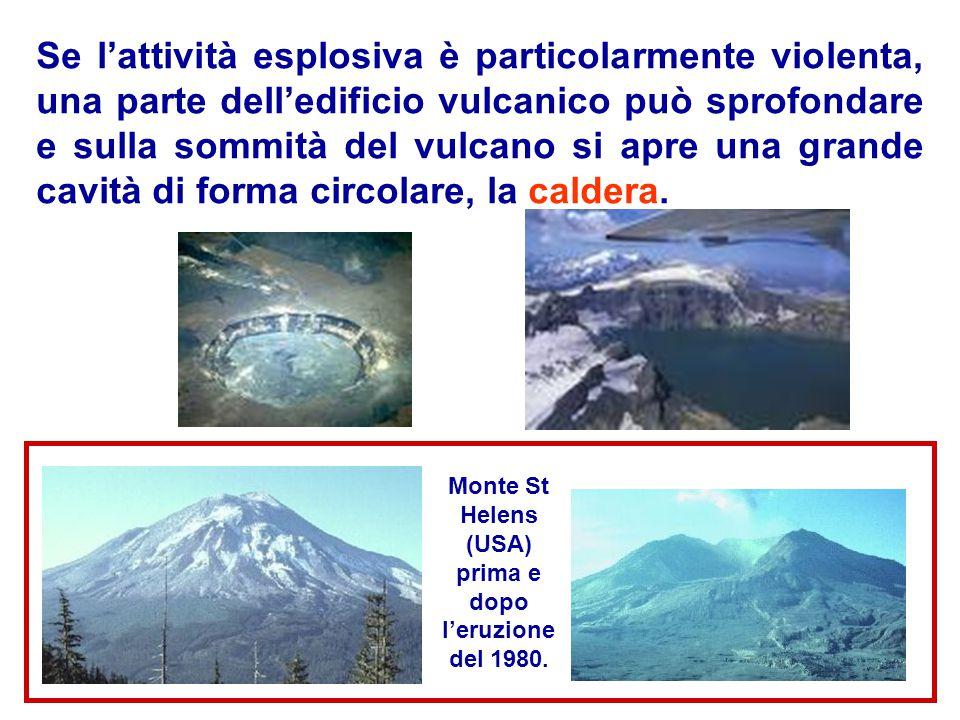 Monte St Helens (USA) prima e dopo l'eruzione del 1980.