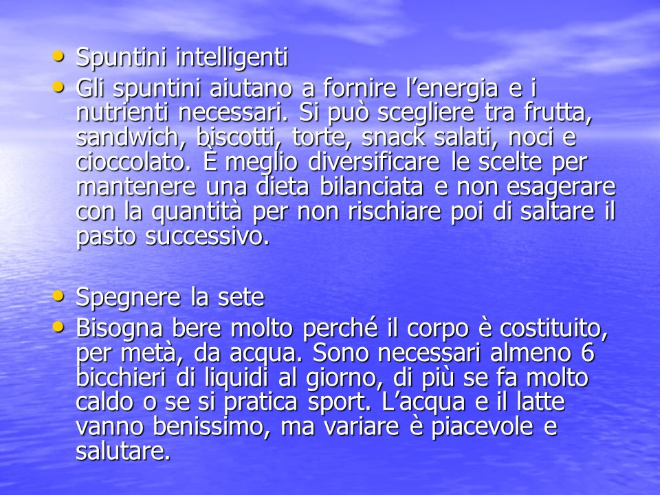 Spuntini intelligenti