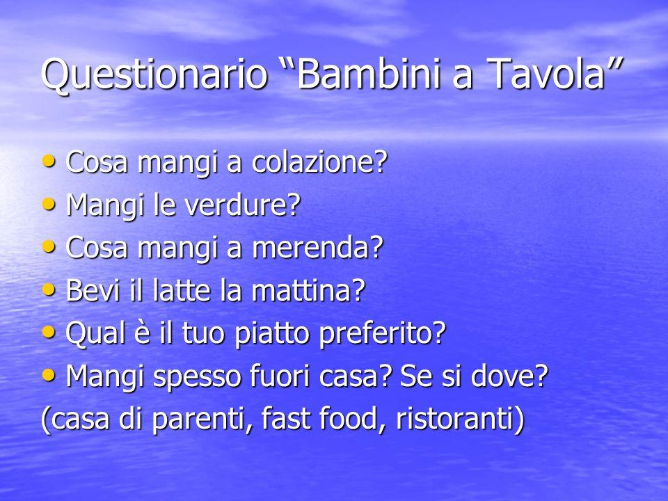 Questionario Bambini a Tavola