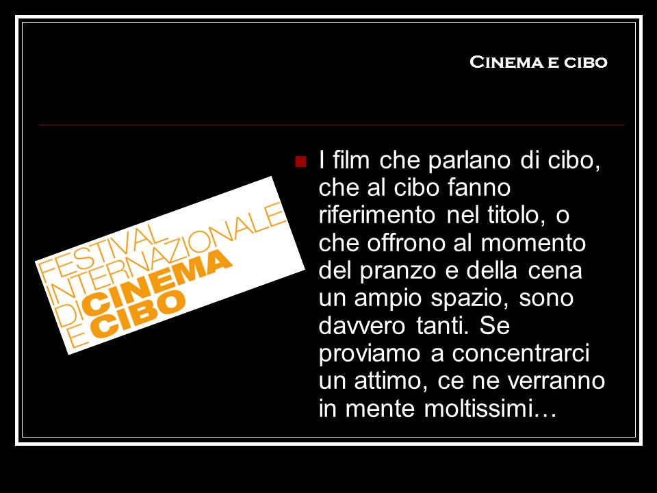 Cinema e cibo