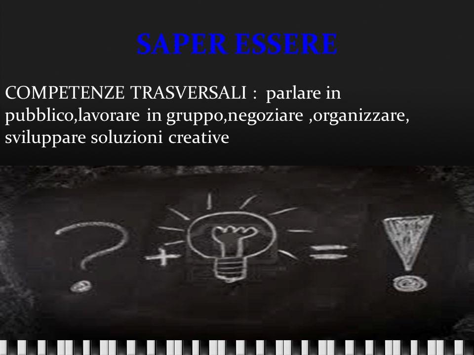 SAPER ESSERE COMPETENZE TRASVERSALI : parlare in pubblico,lavorare in gruppo,negoziare ,organizzare,