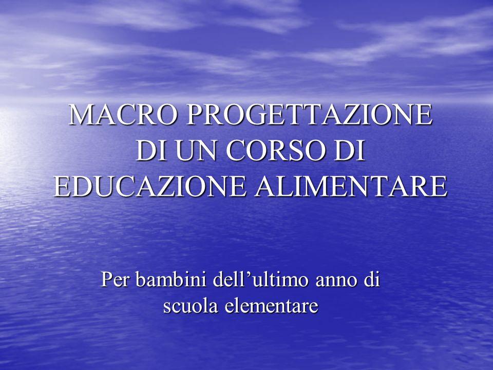 MACRO PROGETTAZIONE DI UN CORSO DI EDUCAZIONE ALIMENTARE