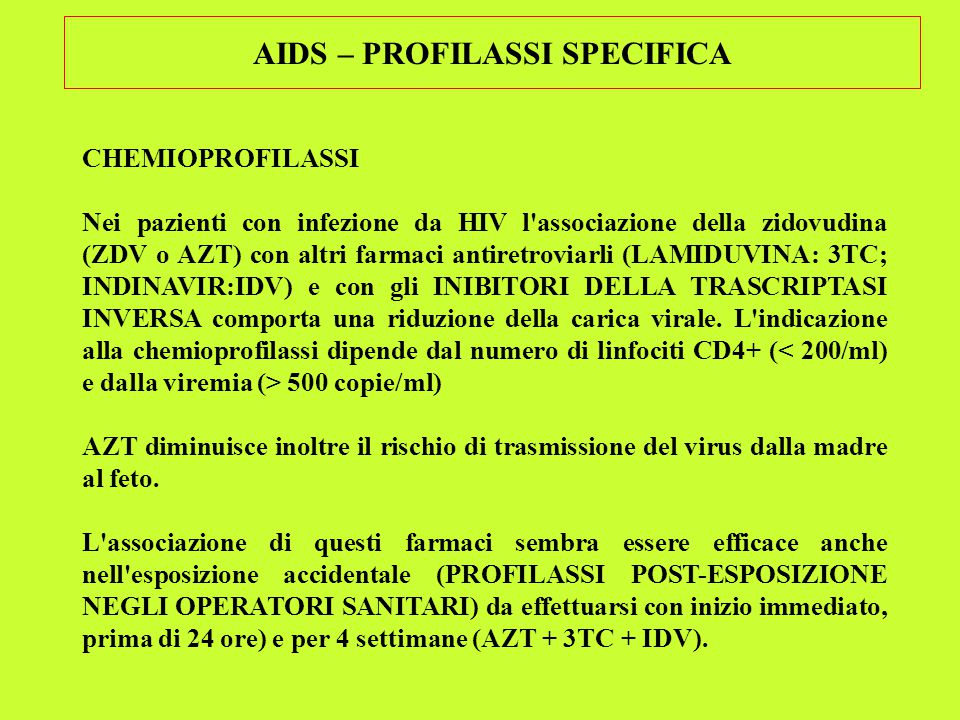 AIDS – PROFILASSI SPECIFICA