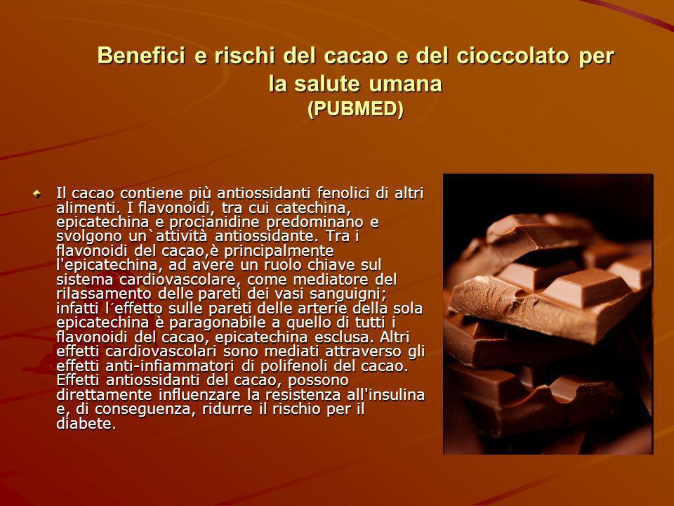 Benefici e rischi del cacao e del cioccolato per la salute umana (PUBMED)