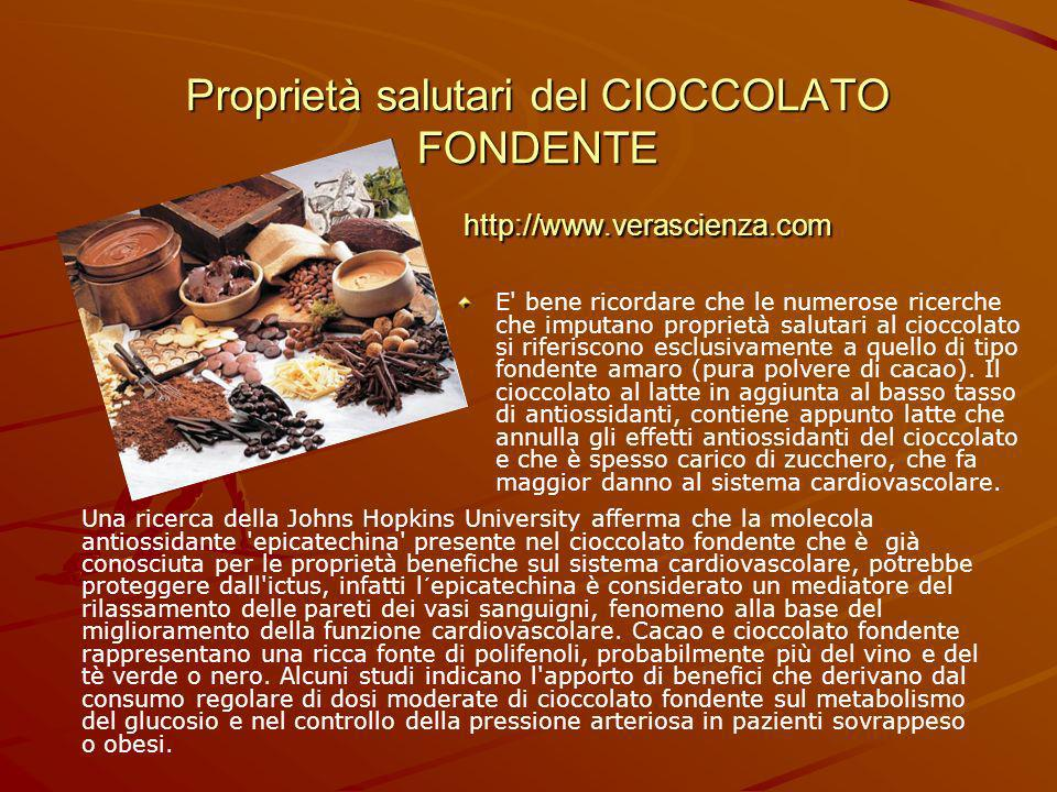 Proprietà salutari del CIOCCOLATO FONDENTE http://www.verascienza.com