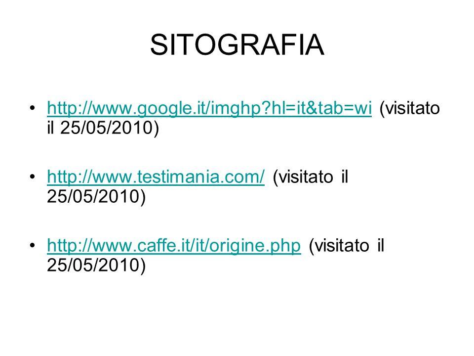 SITOGRAFIA http://www.google.it/imghp hl=it&tab=wi (visitato il 25/05/2010) http://www.testimania.com/ (visitato il 25/05/2010)