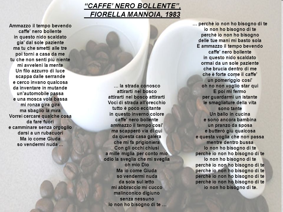 CAFFE' NERO BOLLENTE , FIORELLA MANNOIA, 1983