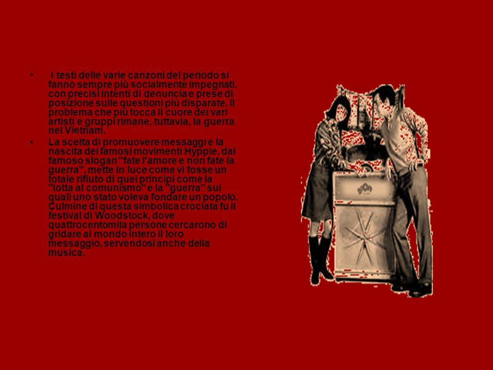 I testi delle varie canzoni del periodo si fanno sempre più socialmente impegnati, con precisi intenti di denuncia e prese di posizione sulle questioni più disparate. Il problema che più tocca il cuore dei vari artisti e gruppi rimane, tuttavia, la guerra nel Vietnam.