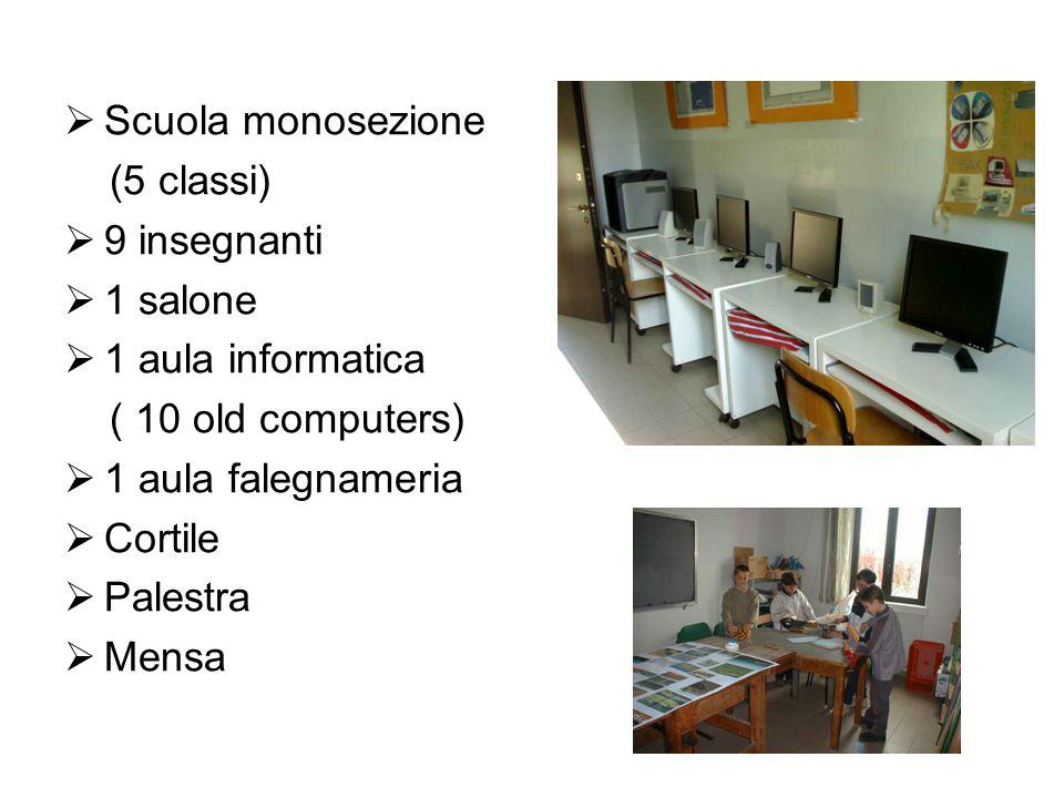 Scuola monosezione (5 classi) 9 insegnanti. 1 salone. 1 aula informatica. ( 10 old computers) 1 aula falegnameria.