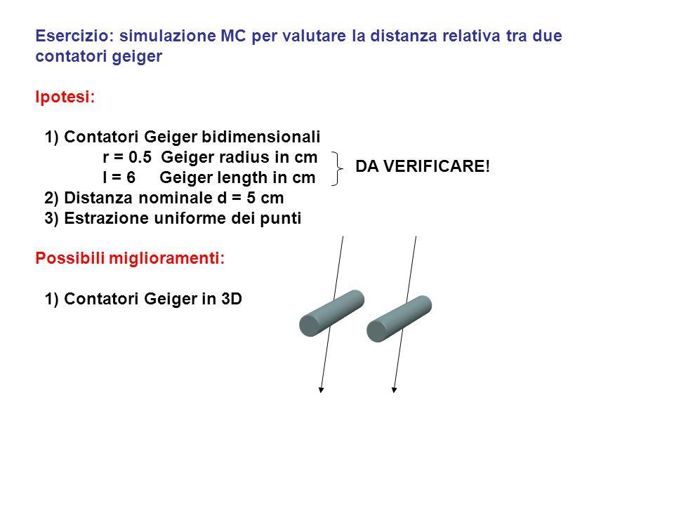 Esercizio: simulazione MC per valutare la distanza relativa tra due contatori geiger