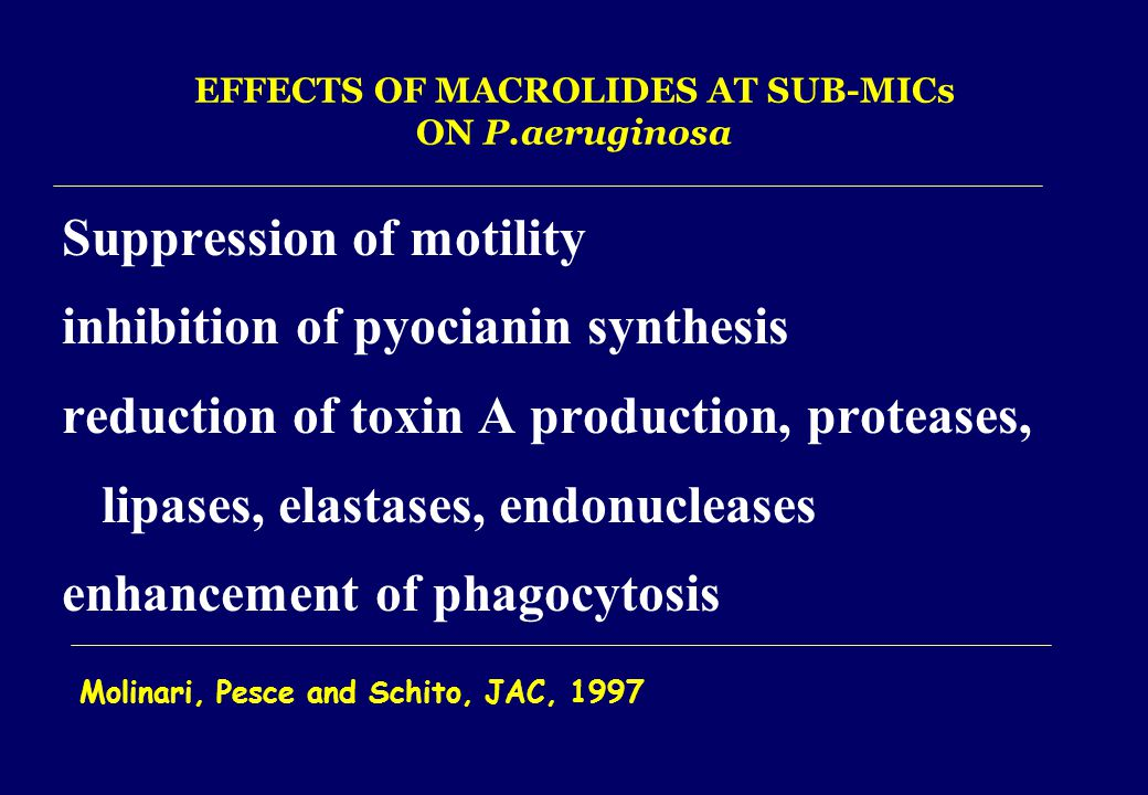 EFFECTS OF MACROLIDES AT SUB-MICs ON P.aeruginosa