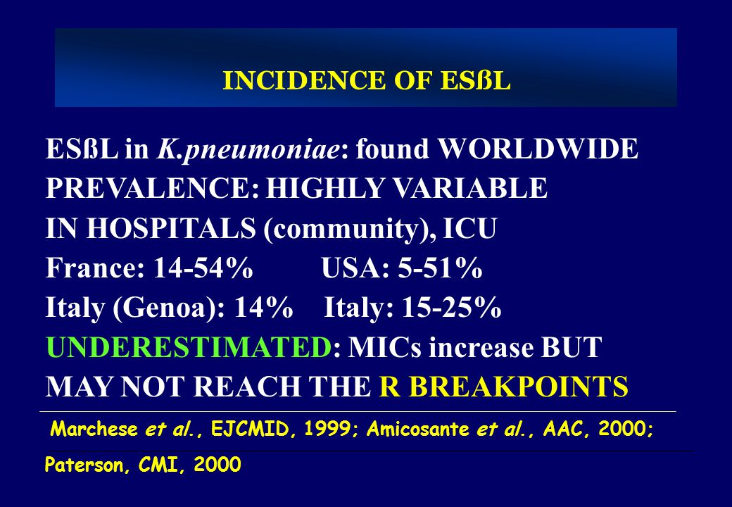 ESßL in K.pneumoniae: found WORLDWIDE PREVALENCE: HIGHLY VARIABLE