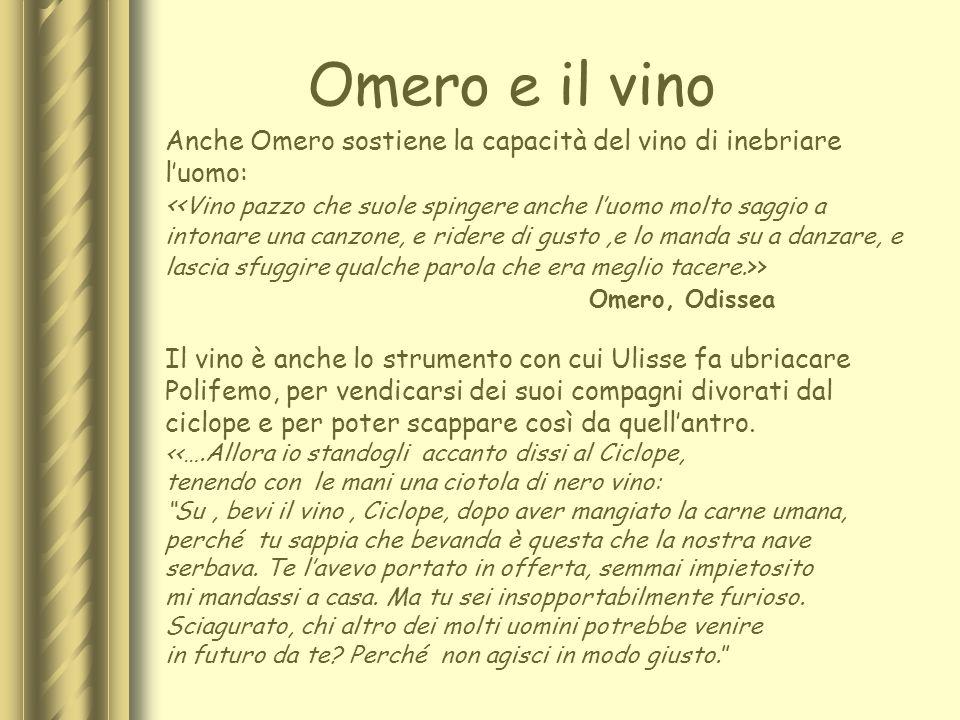 Omero e il vino Anche Omero sostiene la capacità del vino di inebriare