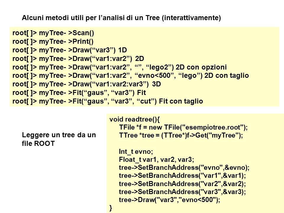 Alcuni metodi utili per l'analisi di un Tree (interattivamente)