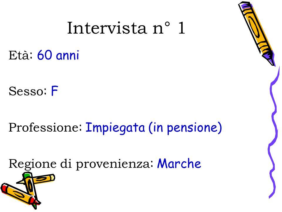 Intervista n° 1 Età: 60 anni Sesso: F