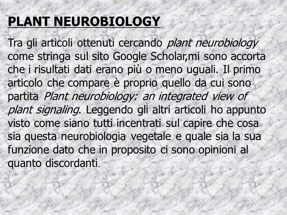 PLANT NEUROBIOLOGY