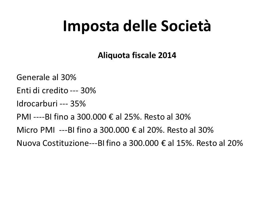 Imposta delle Società Aliquota fiscale 2014 Generale al 30%