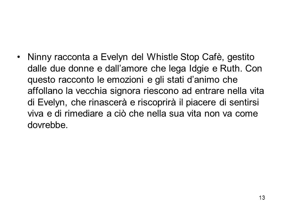 Ninny racconta a Evelyn del Whistle Stop Cafè, gestito dalle due donne e dall'amore che lega Idgie e Ruth.