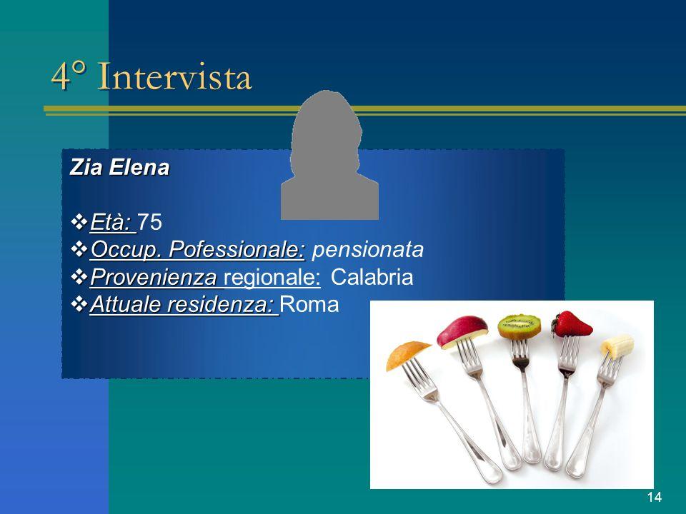 4° Intervista Zia Elena Età: 75 Occup. Pofessionale: pensionata