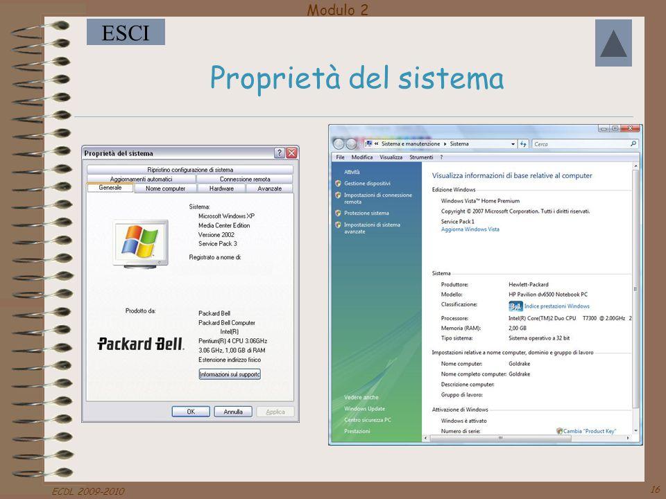 Proprietà del sistema ECDL 2009-2010