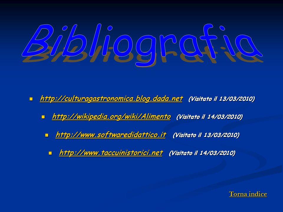 Bibliografia http://culturagastronomica.blog.dada.net (Visitato il 13/03/2010) http://wikipedia.org/wiki/Alimento (Visitato il 14/03/2010)