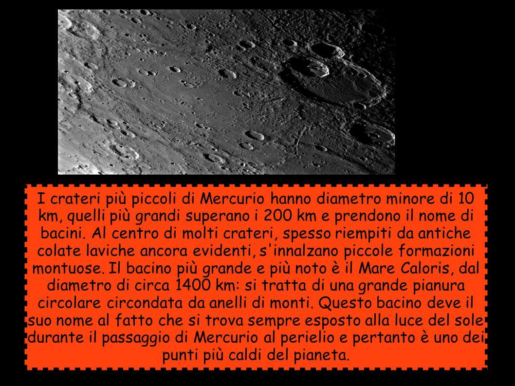 I crateri più piccoli di Mercurio hanno diametro minore di 10 km, quelli più grandi superano i 200 km e prendono il nome di bacini.