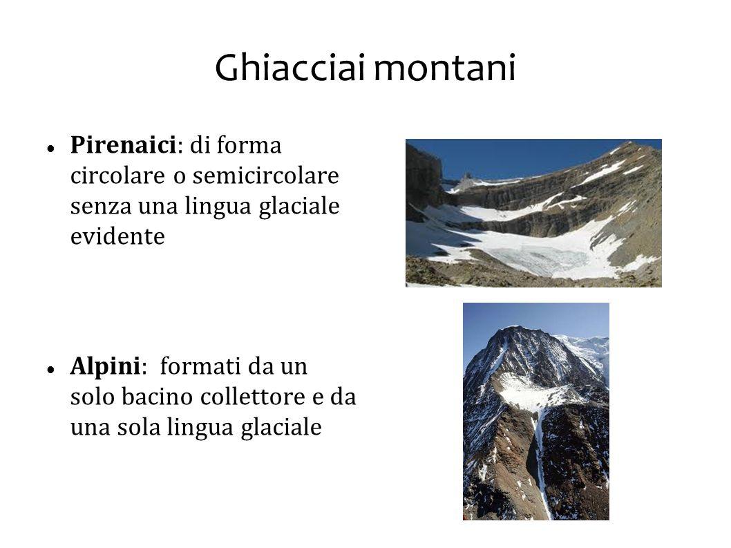 Ghiacciai montani Pirenaici: di forma circolare o semicircolare senza una lingua glaciale evidente.