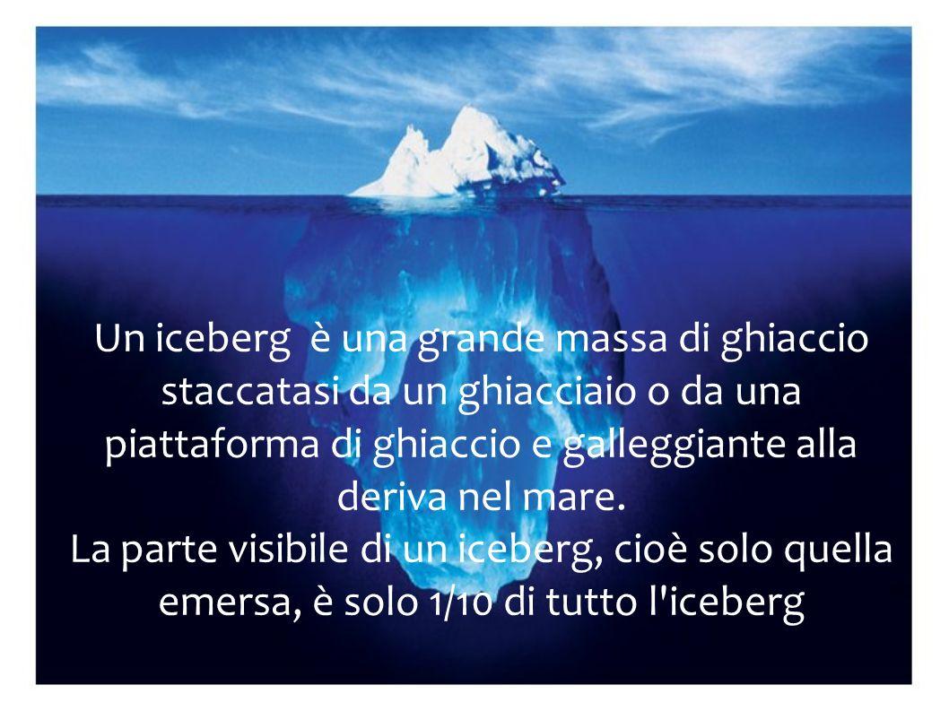 Un iceberg è una grande massa di ghiaccio staccatasi da un ghiacciaio o da una piattaforma di ghiaccio e galleggiante alla deriva nel mare.
