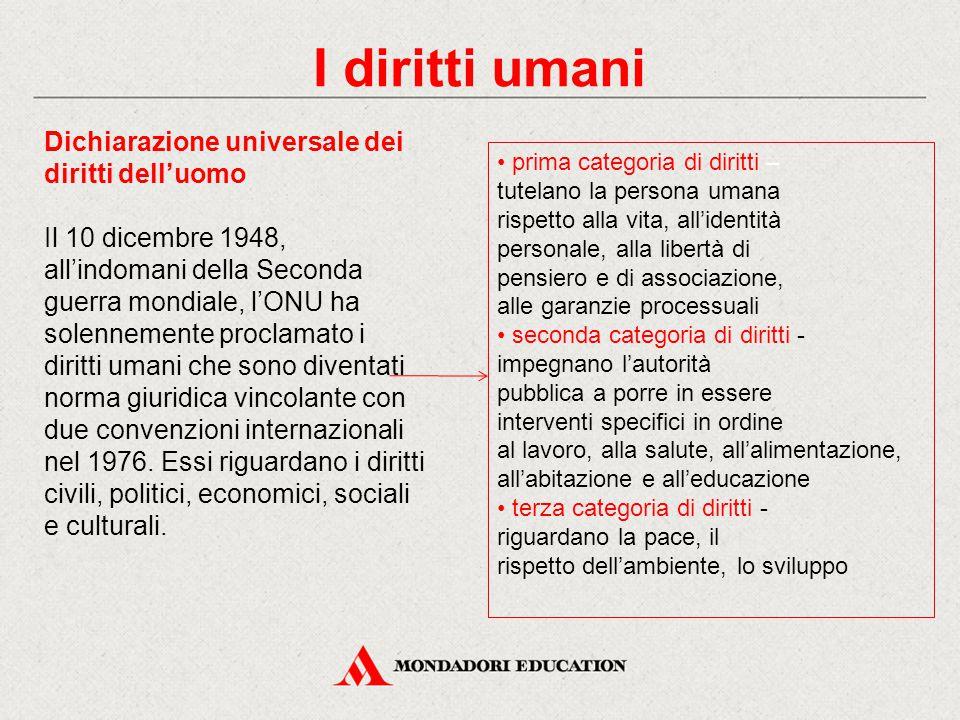 I diritti umani Dichiarazione universale dei diritti dell'uomo
