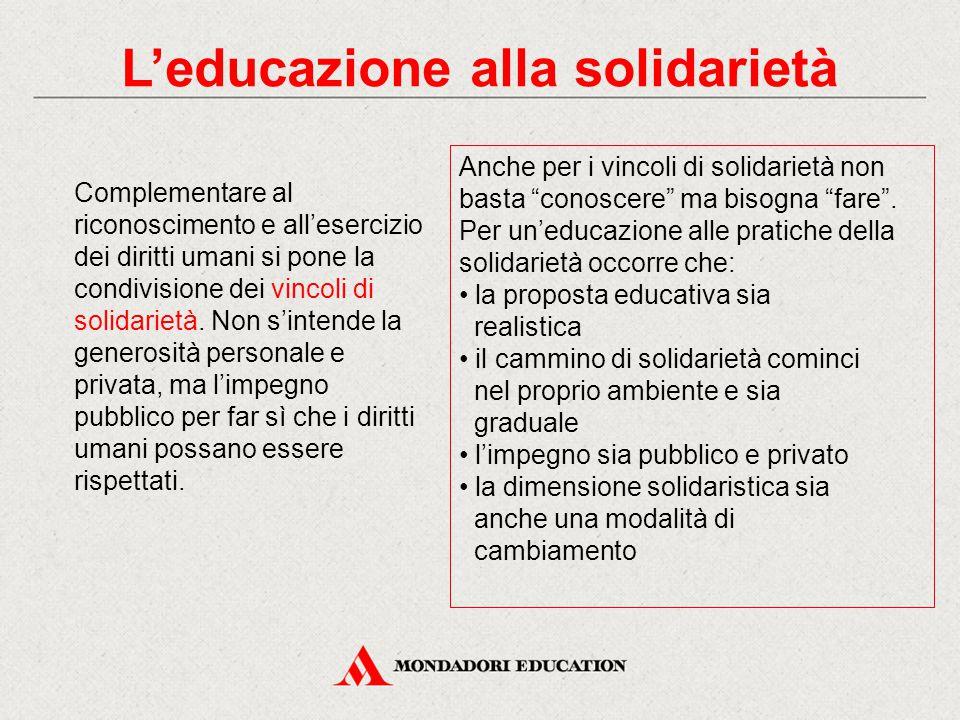 L'educazione alla solidarietà