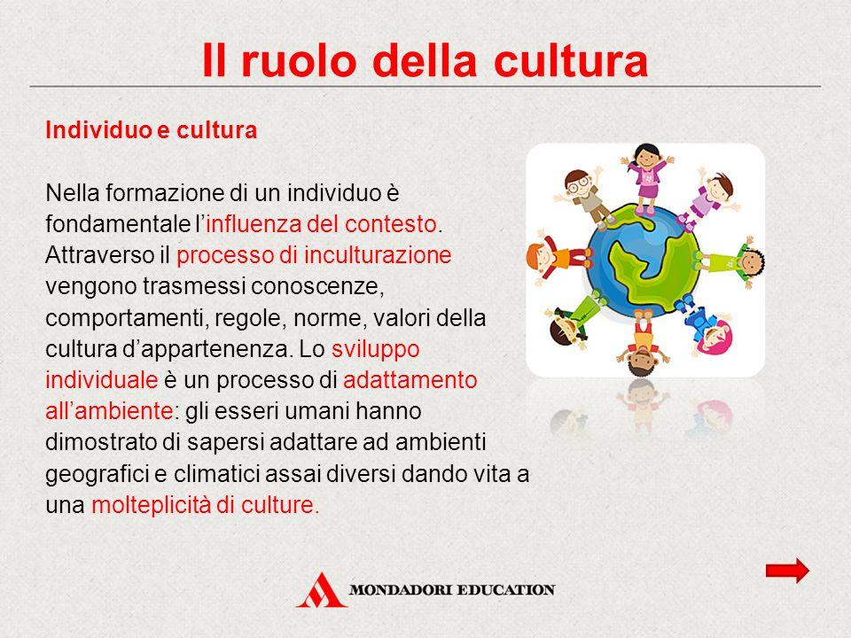 Il ruolo della cultura Individuo e cultura