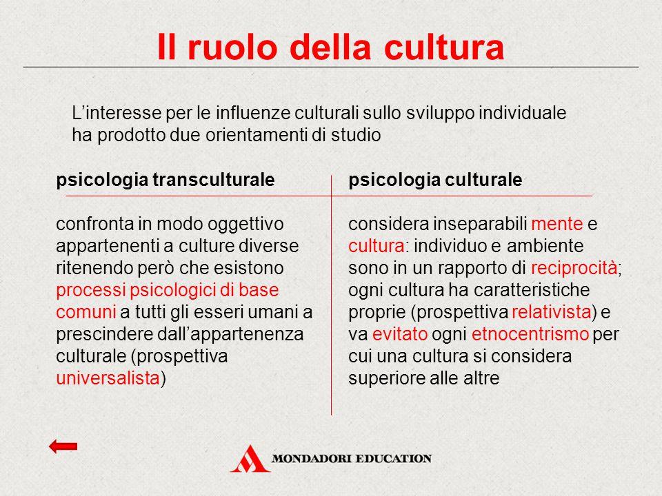 Il ruolo della cultura L'interesse per le influenze culturali sullo sviluppo individuale ha prodotto due orientamenti di studio.