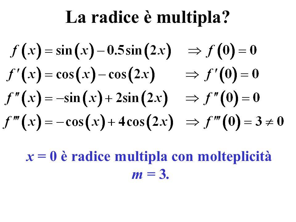 x = 0 è radice multipla con molteplicità