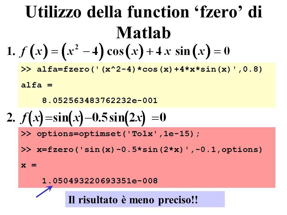 Utilizzo della function 'fzero' di Matlab