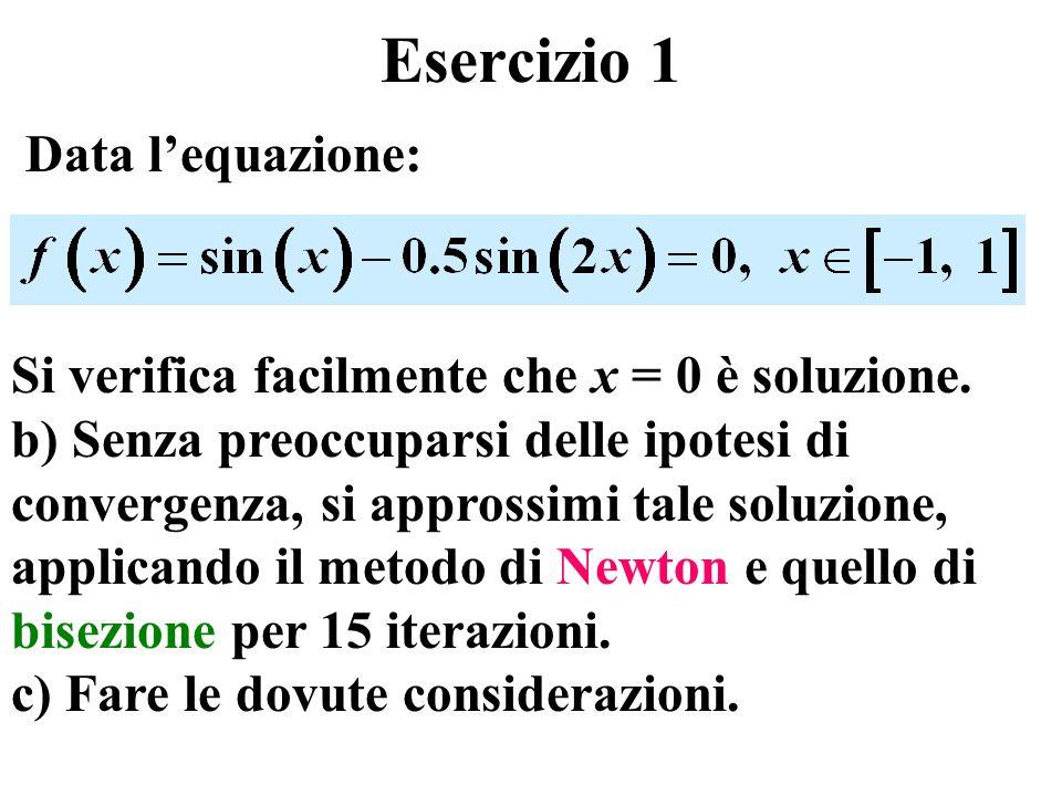 Esercizio 1 Data l'equazione: