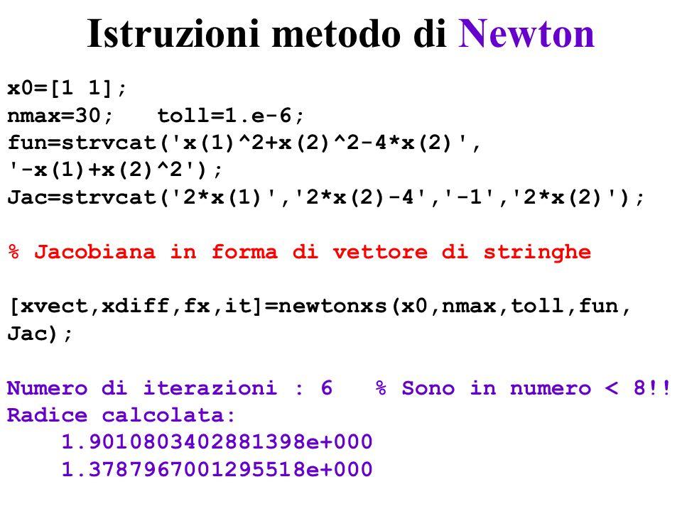 Istruzioni metodo di Newton