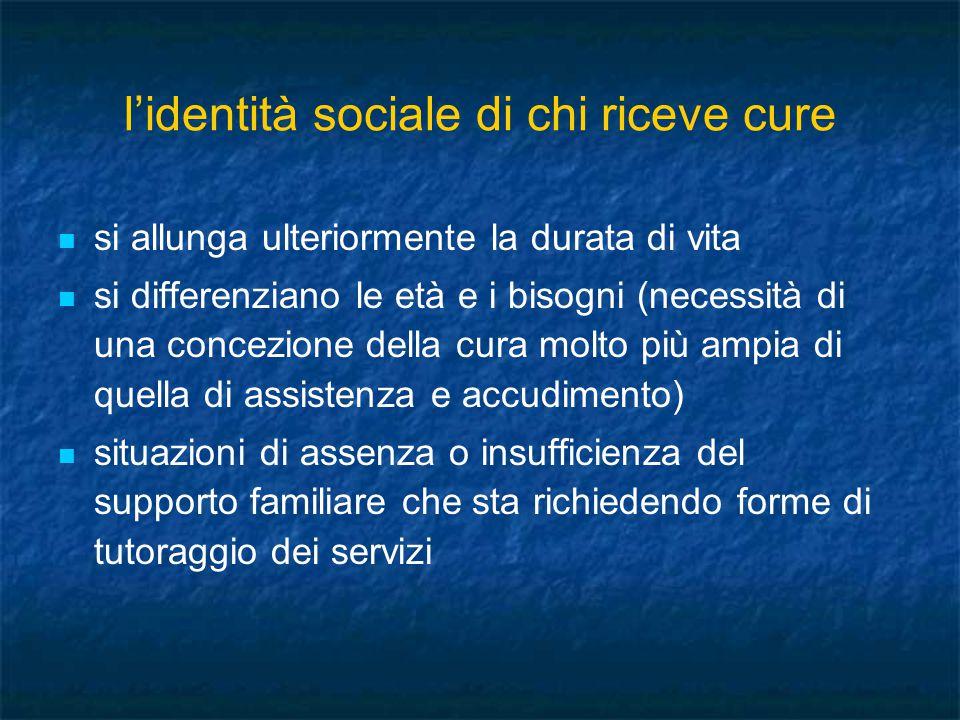 l'identità sociale di chi riceve cure