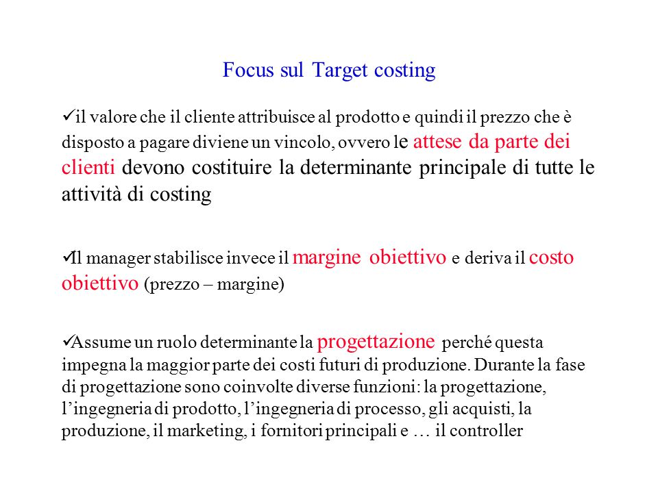 Focus sul Target costing