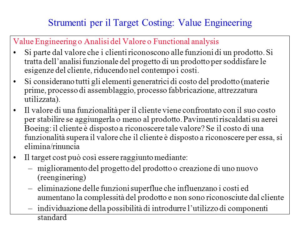Strumenti per il Target Costing: Value Engineering