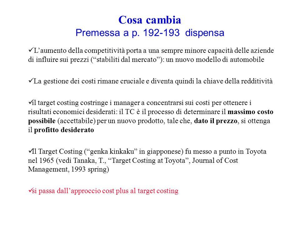 Cosa cambia Premessa a p. 192-193 dispensa