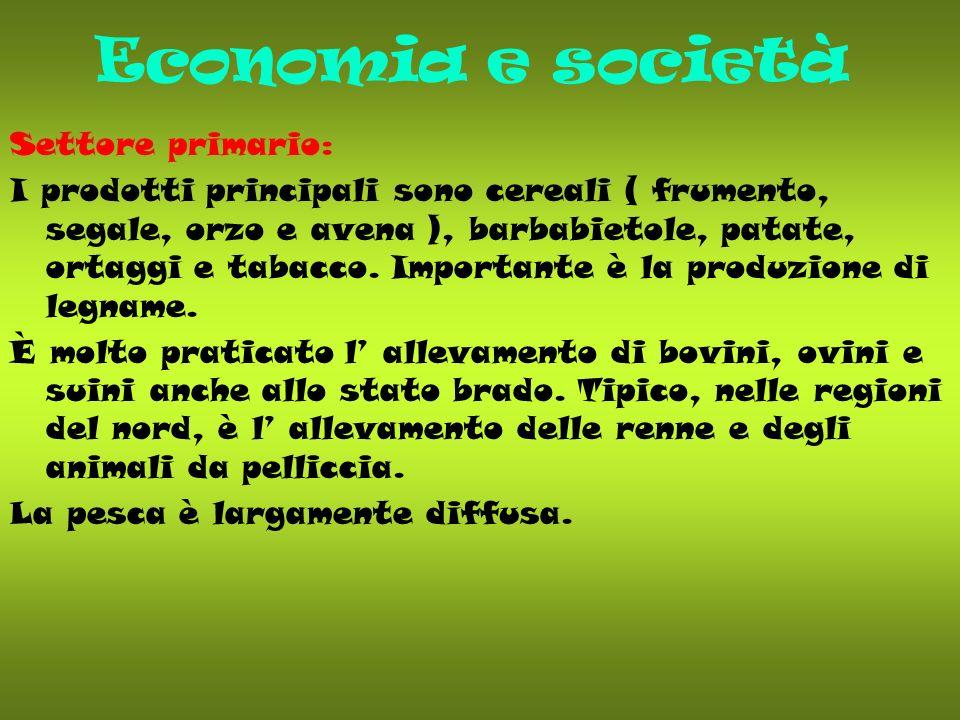 Economia e società Settore primario: