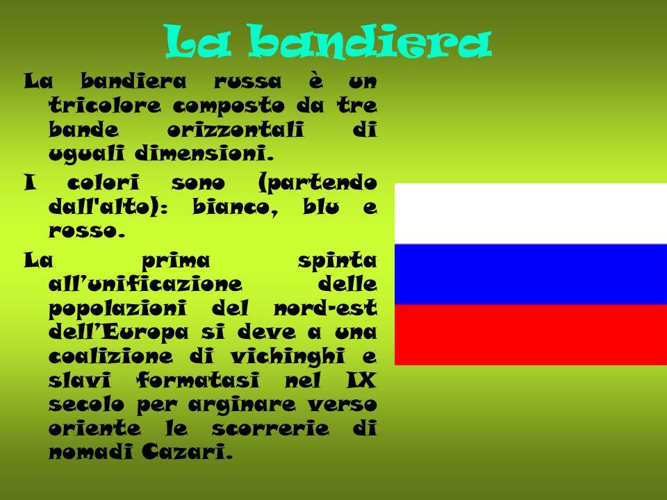 La bandiera La bandiera russa è un tricolore composto da tre bande orizzontali di uguali dimensioni.