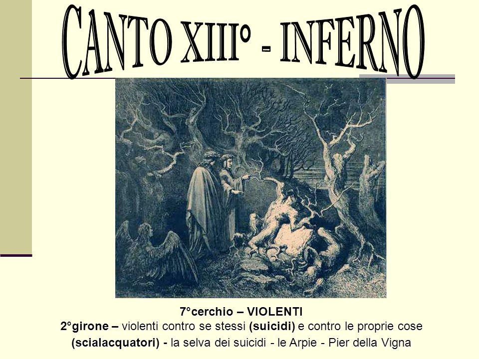 CANTO XIII° - INFERNO 7°cerchio – VIOLENTI
