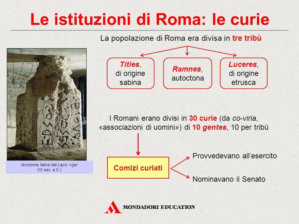 Le istituzioni di Roma: le curie