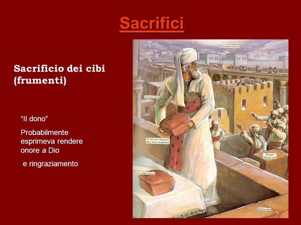 Sacrifici Sacrificio dei cibi (frumenti) Il dono