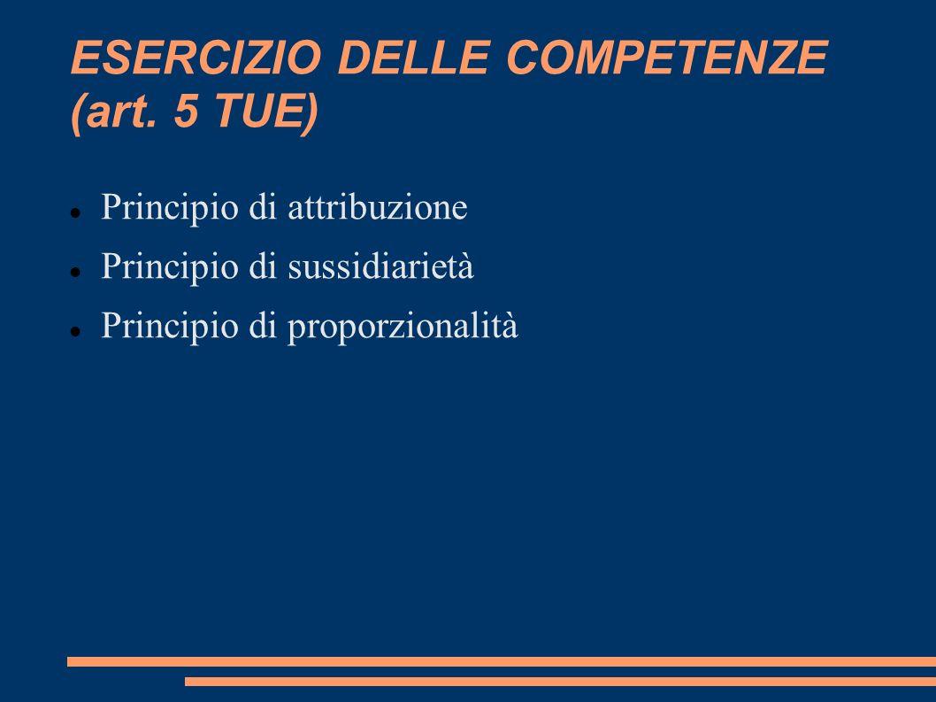 ESERCIZIO DELLE COMPETENZE (art. 5 TUE)