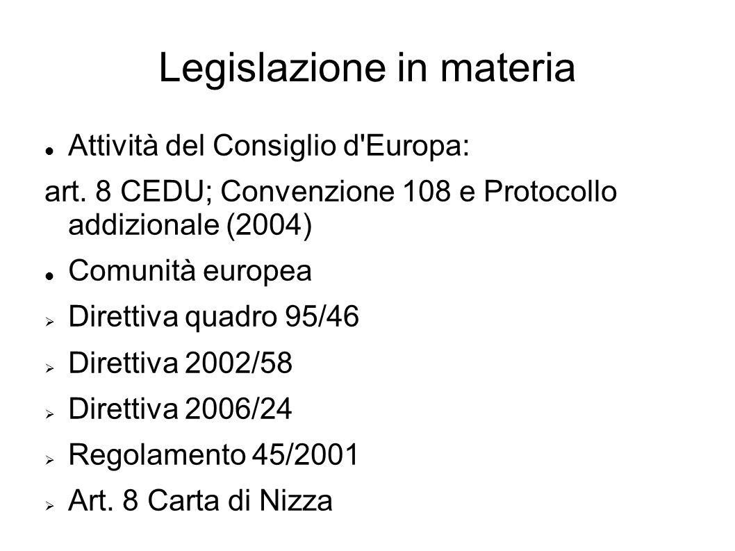Legislazione in materia