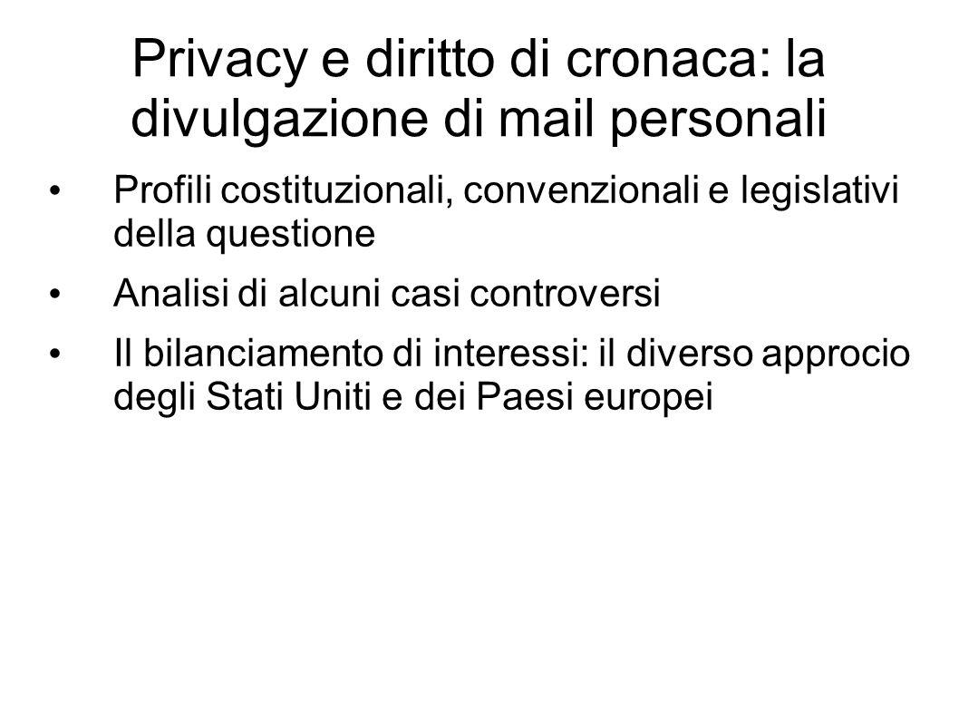 Privacy e diritto di cronaca: la divulgazione di mail personali