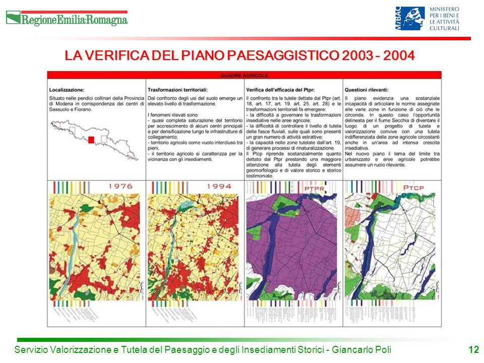 LA VERIFICA DEL PIANO PAESAGGISTICO 2003 - 2004