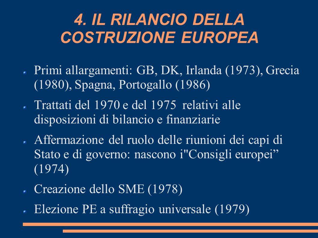 4. IL RILANCIO DELLA COSTRUZIONE EUROPEA